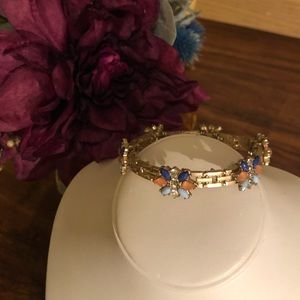 Jewelry - ✨Clearance✨ Gold Bracelet with Blue & Pink Jewels